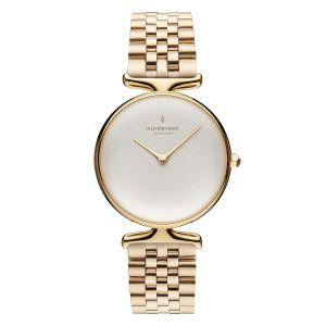 Nordgreen -Unika ur istål. Det elegante ur er designet medguldfarvet 5 link stål lænke. Huset er fremstillet irustfrit stål, med en klassiskhvidurskive.