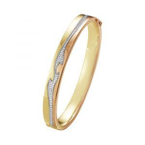 Georg Jensen -Fusion armringi 18 karat guld og 18 karat rosaguld. Midterdelen er i 18 karat hvidguld med paveret med diamanter. 20000051000.