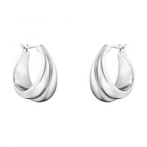 Georg Jensen - Curve øreringe i sølv.  Diameter: 19,3 mm. 10017502.