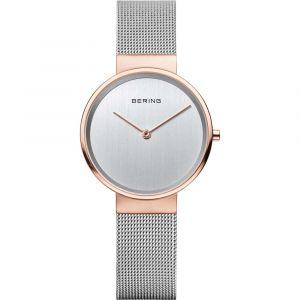 Bering - Classic dameur med urkasse i poleretrosafarvet rustfrit stål,minimalistisk grå urskive med safirglasog udskiftelig sølvfarvet mesh rem. 14531-060.