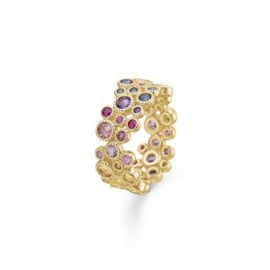 Mads Z - Luxury Rainbow ring i 14 karat guld.Denne regnbuering er udsmykket med ædelstene; ametyst, safir, citrin, topas, peridot, turmalin og rubin. 1544063.