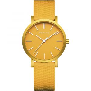 Bering - True Aurora gult ur. Dette moderneur er fremstillet med mat gul urkasse ialuminium, gul urskive og udskiftelig gul silikone rem. 16934-699.