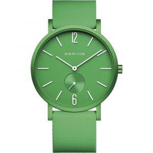 Bering - True Aurora grønt ur med urkasse i mat grøn aluminium, grøn urskive og silikone rem. 16940-899.