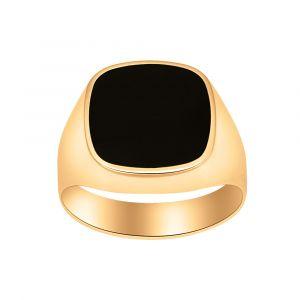 Nordahl Andersen - Herrering i 14 karat guld, med en blank overflade. Toppen er designetmedensort onyx. 183-100ON5.