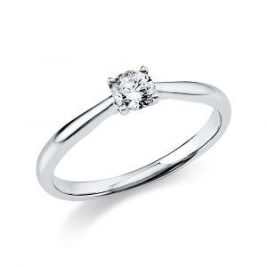 Boye Jewelry - Solitaire ring i 14 karat hvidguld med en 0,25 ct brillantsleben diamant. Det er en smuk enstensring med en blankpoleret overflade. 1A290W4.