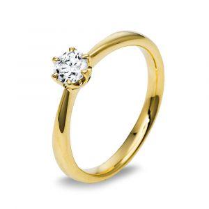 Boye Jewelry -Solitaire ring i 14 karat guld med en 0,40 ct brillantsleben diamant.Denne enstensring har en smuk blankpoleret overflade. 1C483G4.