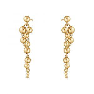 Georg Jensen - Moonlight Grapes øreringe i 18kt guld med diamanter. Ørestikkerneer designet som smalle drueklaser, der falder naturligt i bevægelse. 20000671.