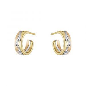 Georg Jensen - Fusion øreringe i 18 karat guld. De små creoler er fremstillet i 18kt guld, 18kt rosaguld og 18kt hvidguld med diamanter - i alt 0,08 ct. 20000970.