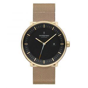 Nordgreen - Philosopher Christopher ur i stål. Det er et sofistikeret ur, designetmed guldfarvet urkasse i rustfrit stål, guldfarvet mesh rem og sort urskive.