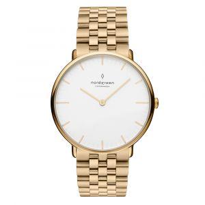 Nordgreen - Native ur i guldfarvet stål med en klassisk hvid urskive, og guldfarvet stål lænke. Uret er fremstillet i et minimalistisk skandinavisk design.