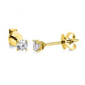 Boye Jewelry - Solitaire ørestikker i 14 karat guld. De små øreringe er udsmykketmed i alt 0,30 ct brillantslebnediamanter. 2A998G4.