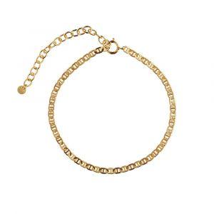 Stine A - Petit Link armbånd i forgyldt sølv. Det er et smalt armbånd, designet med en række af små fladtrykte links. 3170-02-OS.
