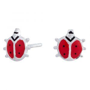 NOA Kids Jewellery - Mariehøne ørestikker til børn, i sølv med rødemalje. De fine øreringe er udformetsom små mariehøns. 325-091.