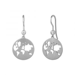 byBiehl Beautiful World sølv øreringe med zirkoner formet som jordkloder, 4-1601-R