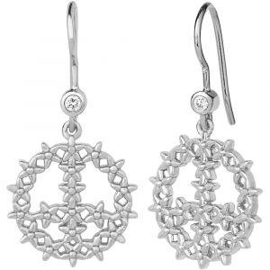 byBiehl Imagine sølv øreringe med zirkoner formet som peace tegn, 4-2401-R