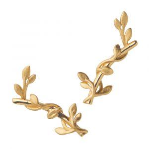 byBiehl Jungle Ivy ørestikker i forgyldt sølv med blade, 4-3101-GP