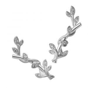 byBiehl Jungle Ivy Sparkle sølv ørestikker med zirkoner placeret i de små blade, 4-3102a-R