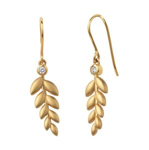 byBiehl - Season øreringe i forgyldt sølv. De elegante øreringe er designet som blade, placeret under en klar zirkonia. Længde på blad: 2,2 cm. 4-3501-GP.