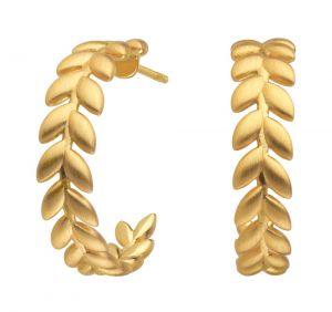 byBiehl - Season Hoops øreringe i forgyldt sølv. De fine creoler er designet som en række af små blade.Diameter: 2 cm. 4-3502-GP.