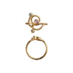 Twirl Candy Dots ring i forgyldt sølv med farvede zirkoner (4043-02)