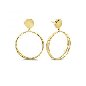 Spirit Icons - Twin øreringe i forgyldt sølv. De fine ørestikker er designet med elegante vedhæng, udformet som store åbne cirkler. 41432.