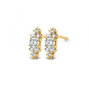 Spirit Icons - Vida ørestikker i 14 karat guld med en oval form,hver med 6 små diamanter samt en stor diamant. 44196