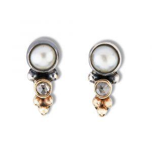 By Birdie - Carol øreringei925 sterling sølv, udsmykket med 14 karat guld, ferskvandsperler og rosenslebne diamanter. 50811298.