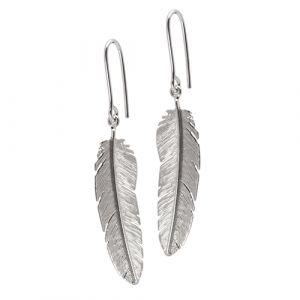 Heiring - Feather øreringe i rhodineret sølv. På hver ørering er en elegant fjer. 51-5-97OEH-RH.