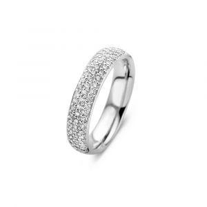 Spirit Icons - Vivendi ring i blankpoleret sterlingsølv, fremført i et moderne design. Toppen af ringen er paveret med 3 rækker af små klare zirkonia. 51281.
