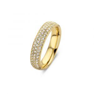 Spirit Icons - Vivendi ring i blankpoleret forgyldt sølv. Toppen af den iøjnefaldende moderne ring er paveret med 3 rækker af små klare zirkonia. 51282.