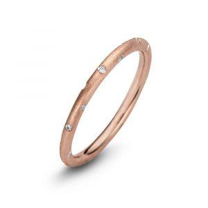 Spirit Icons - TasteChic ring i rosaforgyldt sølv med zirkonia. Ringen har en rundmatteret overflade, udsmykket med enkelte små hvide zirkonia. 53294