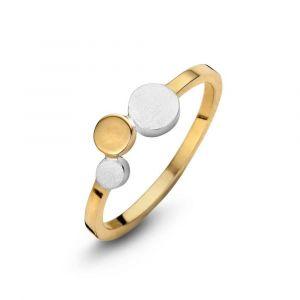 Spirit Icons - Steps ring i 2-farvet sølv. Ringen er i forgyldt sølv, med tre små cirkler. En cirkel er i forgyldt sølv. De to andre i matteret sølv. 53352