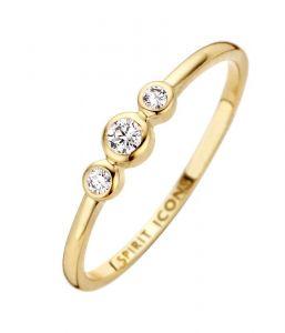 Spirit Icons - Trinity ring i 14 karat blankpoleret guld med 0,09ctdiamanter. Langs toppen er tre små kugler, hver med en runddiamant. 54096.