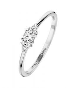 Spirit Icons - Vida ring i 14 karat blankpoleret hvidguld, fremstillet i et elegant klassisk design. Toppen er udsmykket med diamanter i 0,16ct. 54107