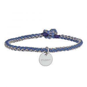 Håndflettet armbånd i blå med sølvplade, indgraveret STUDENT (859-000)