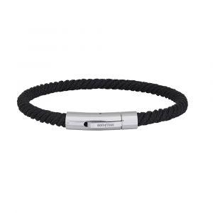 SON of NOA - SON herre armbånd i nylon. Armbåndet er designet medsort snoet nylon og enlås i stål. Bredde:5 mm. 889-000-BLACK.