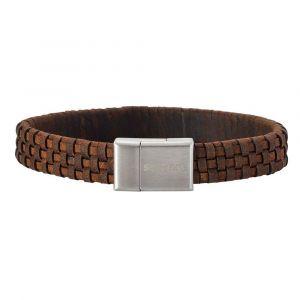 SON of NOA - SON herre læderarmbånd. Det brune flettet kalvelæder spiller flot op mod låsen i børstet stål. Bredden på armbåndet er 12 mm. 897-000-BROWN.