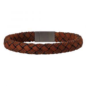SON of NOA - SON herrearmbånd, fremstillet i brunt flettet kalveskind med en lås i stål.897-003-BROWN.