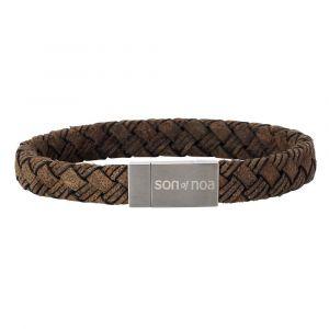 SON of NOA - SON herre læderarmbånd. Armbåndet er lavet i et rustikt design, i flettet gråbrunt kalvelæder, med lås i børstet stål. 897-003-GREY