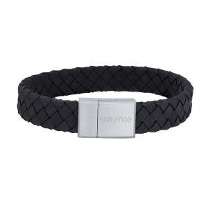 SON of NOA - SON herre læderarmbånd. Armbåndet er designeti sort flettet kalvelæder, med enlås i børstet stål. Bredde: 12 mm. 897-014-BLACK.