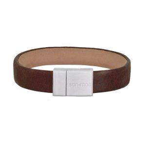 SON of NOA - SON herrearmbånd i brunt kalvelæder, med lås i brøstet stål. Dette læderarmbånd har en bredde på 12 mm.