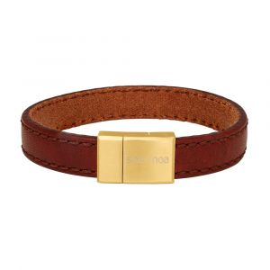 SON of NOA - SON læderarmbånd i brun kalveskind.Dette armbånd til mænd er fremstillet i brunt kalveskind, med en lås i stål.Bredde: 12 mm. 897-018-BROWN.
