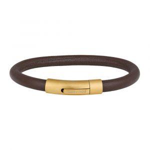SON of NOA - SON herrearmbånd. Det er et smalt læderarmbånd, fremstilleti brunt kalvelæder med lås i forgyldtstål. 897-020-BROWN.