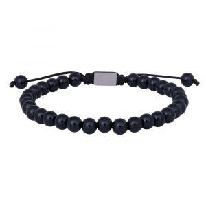 SON of NOA - SON herrearmbånd med onyx. Dette armbånd er fremstillet til mænd, designet med en række af sorte onyx kugler. Længden er justerbar. 898-005-21.