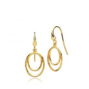 Izabel Camille - Universe øreringe i forgyldt sølv, designet med stilrene ovale åbne vedhæng. Længde: 31 mm. Bredde: 14 mm. a1636gs.