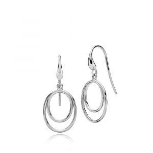 Izabel Camille - Universe øreringe i rhodineret sølv, hver med et stilrent cirkulært vedhæng. 31 x 14 mm. a1636sws.