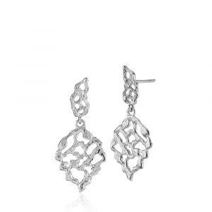 Izabel Camille - Holly øreringe i rhodineret sølv. De elegante ørestikker er fremstillet med vedhæng, designet som blade med organiske åbne former. a1726sws.