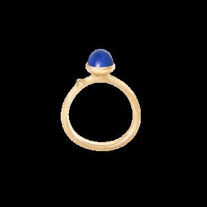 Ole Lynggaard - Lotus Tiny ringmed lapis- Str. 0. Ringen er fremstillet i18 karat guld, med en lille rundlapis lazuli. A2708-413.