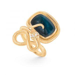 Ole Lynggaard - Snakes ring i 18 karat guld. Ringen er fremført i et elegant slange design, med blå topas og 6 brillantslebne diamanter. A2790-406.