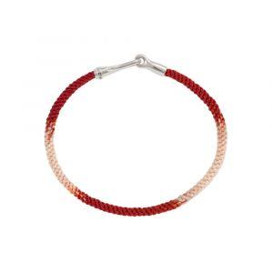 Ole Lynggaard - Life Red Emotions armbånd, med håndknyttet reb i rød og hvid. Låsen er fremstillet i sølv, designet som en krog. Bredde: 3 mm. A3040-302